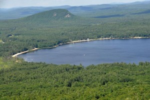 Aerial shot over Lovewell Pond in Fryeburg